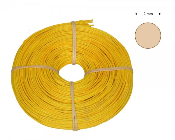 Peddigrohr rund gefärbt 2 mm - gelb