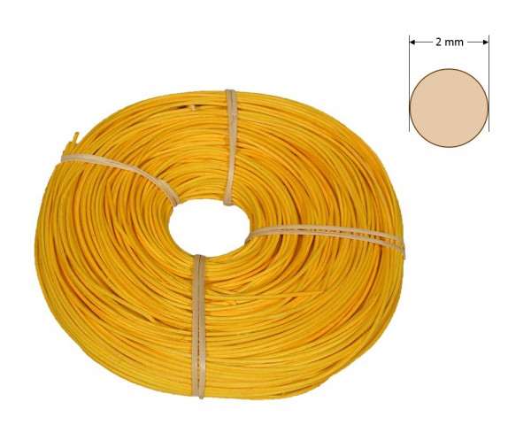 Peddigrohr rund gefärbt 2 mm - gelb-orange